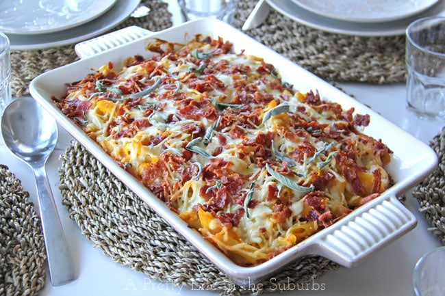 Cheesy Butternut Squash Pasta Bake {A Pretty Life}