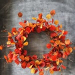 DIY Fall Leaf Wreath on a chalkboard background