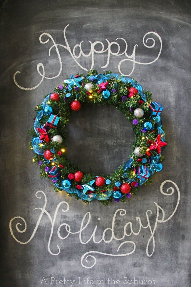 Merry & Bright Christmas Wreath on Chalkboard Feature Wall {A Pretty Life}