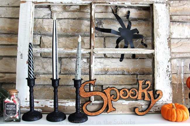 Simple and Spooky Halloween Mantel {A Pretty Life}