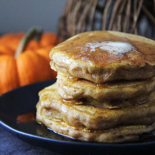 A stack of freshly made Pumpkin Pie Pancakes