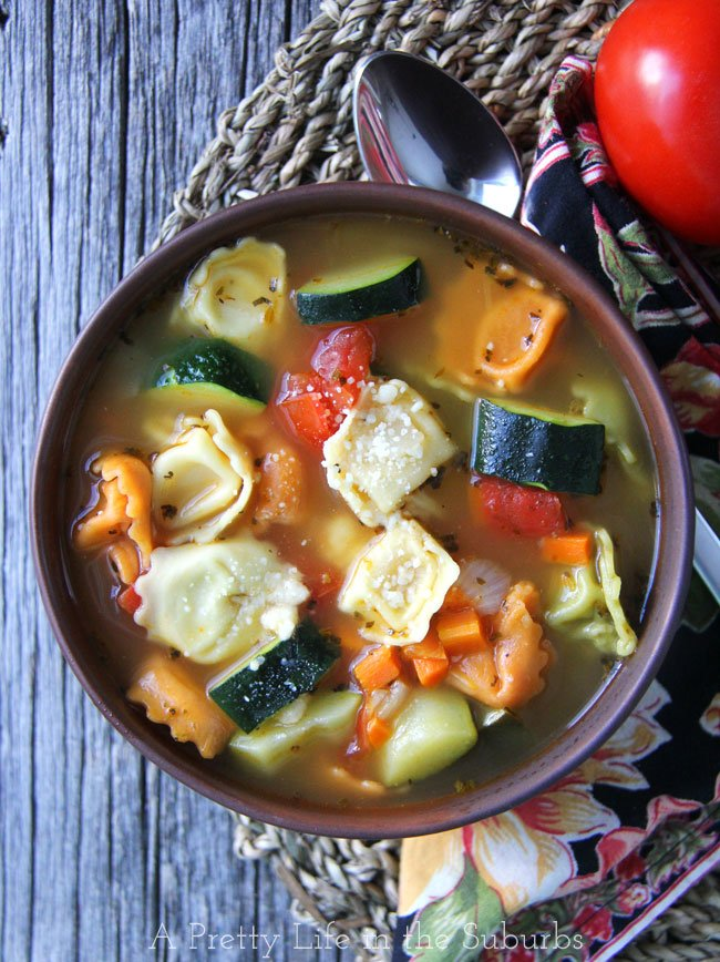 Tortellini Vegetable Soup {A Pretty Life}