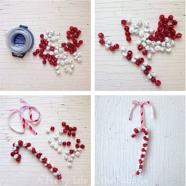 DIY Candy Cane Jingle Bell Ornament