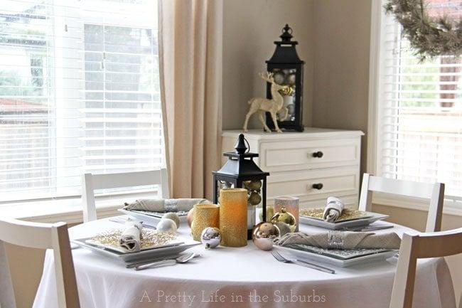Mixed Metallic Holiday Table {A Pretty Life}