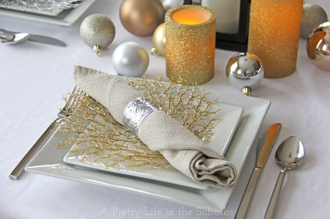 Mixed Metallic Holiday Table {A Pretty Life}