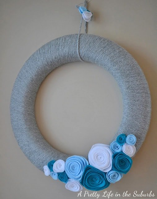 My Winter Inspired Yarn & Rosette Wreath