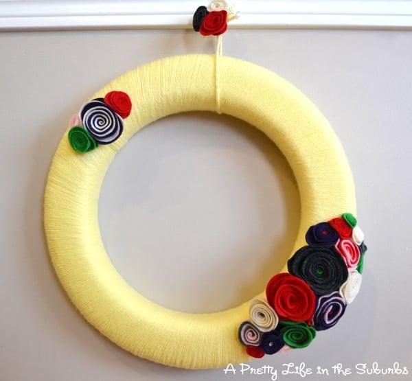 Valentines Inspired Yarn Wreath
