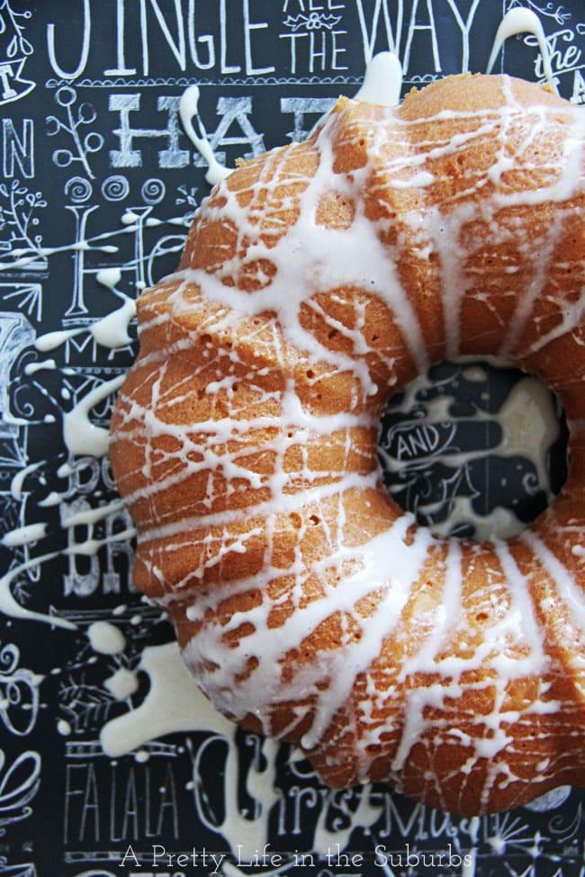 Eggnog Bundt Cake with Eggnog Sugar Glaze {A Pretty Life}