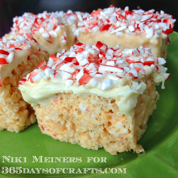 White chocolate peppermint cheesecake rice crispie treats