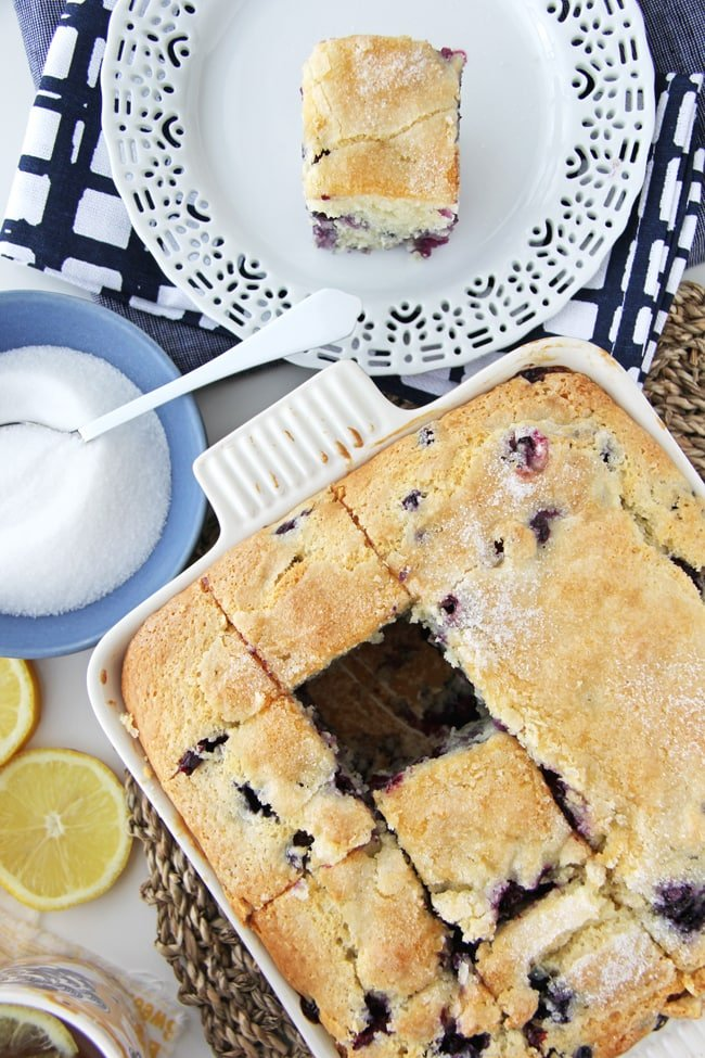 Blueberry Buttermilk Breakfast Cake {A Pretty Life}