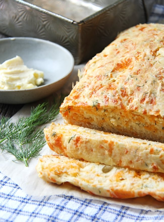Cheddar and Dill Buttermilk Quick Bread {A Pretty Life}