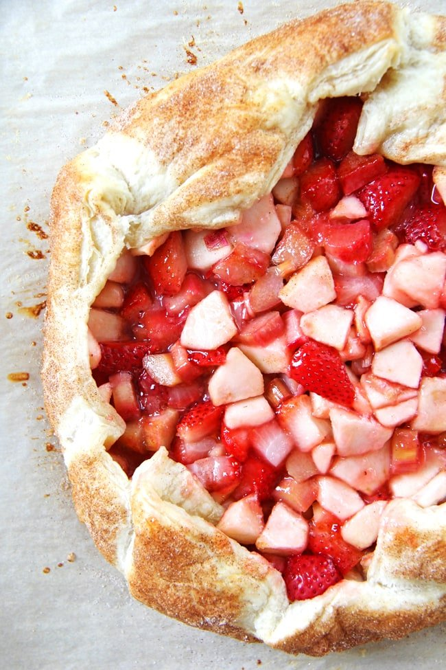 Strawberry Rhubarb and Apple Galette