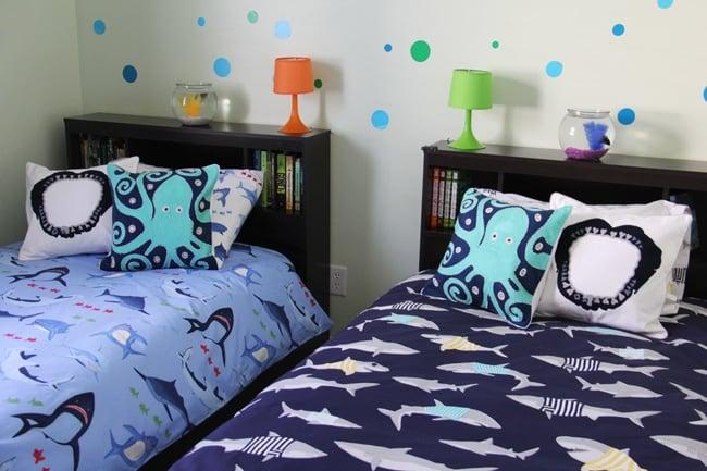 Boys Shark Theme Shared Bedroom  {A Pretty Life}