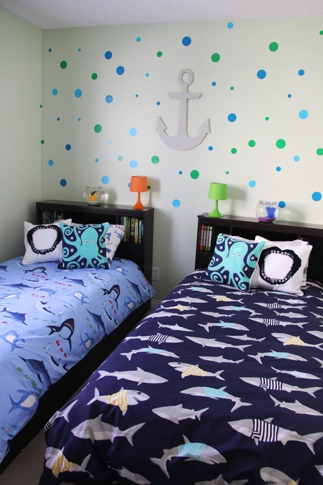 Boys Shark Theme Shared Bedroom A Pretty Life In The Suburbs