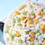 A bowl full of Creamy Cheddar Macaroni Salad