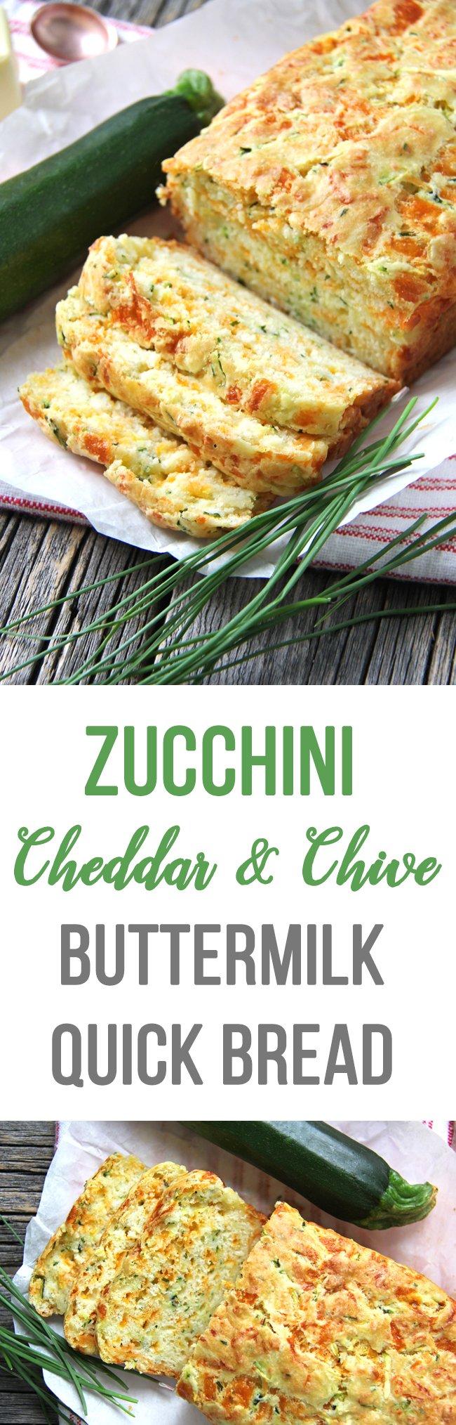 Zucchini Cheddar and Chive Buttermilk Quick Bread