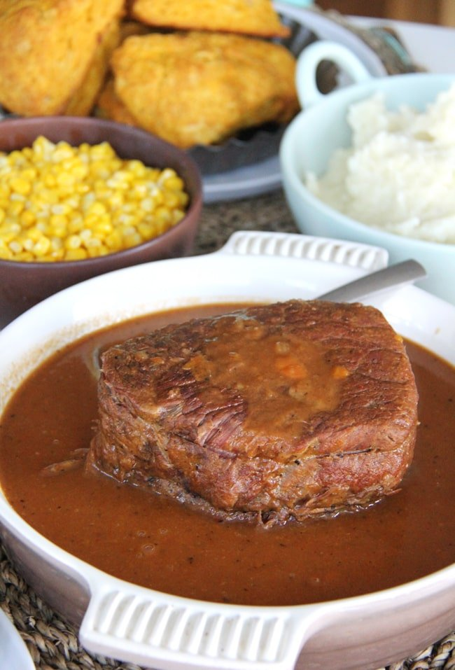 A dish of Roast Beef and Gravy and all the fixings!