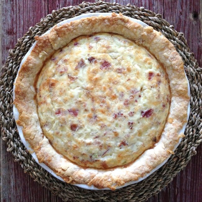 Bacon and Cheese Quiche  {A Pretty Life}