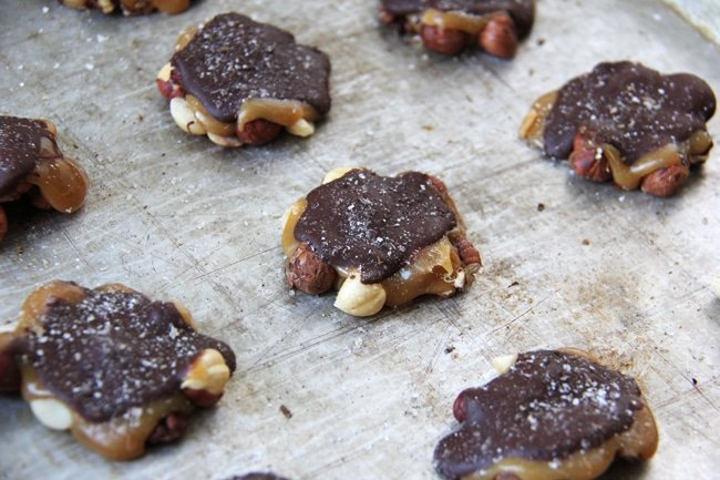 Chocolate Caramel Nut Clusters 7{A Pretty Life}