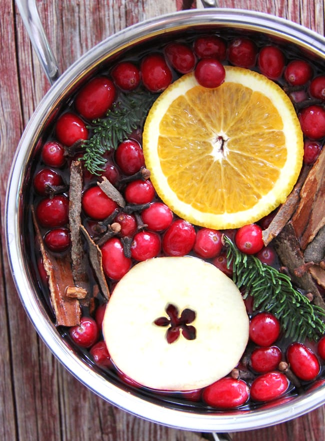 a pot of Christmas stovetop potpourri. filled with an orange slice, a slice of apple, fresh cranberries, cinnamon bark and bits of fir tree