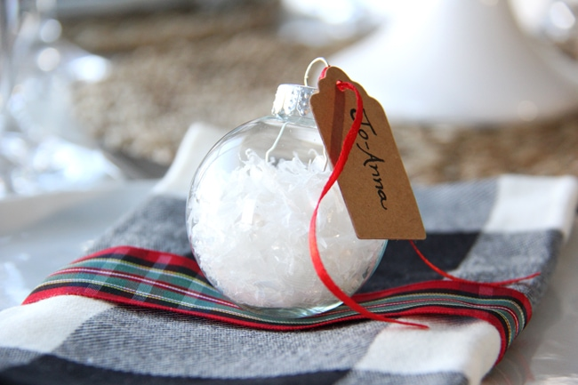 Christmas Place Setting Idea with a DIY Snow Glass Ornament