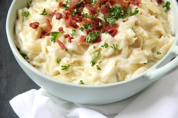 Three Cheese Bacon Macaroni and Cheese