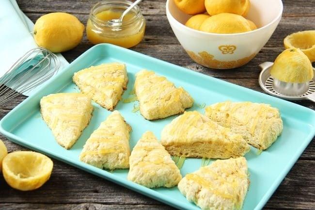 Lemon Scones with Lemon Curd Glaze {A Pretty Life}3