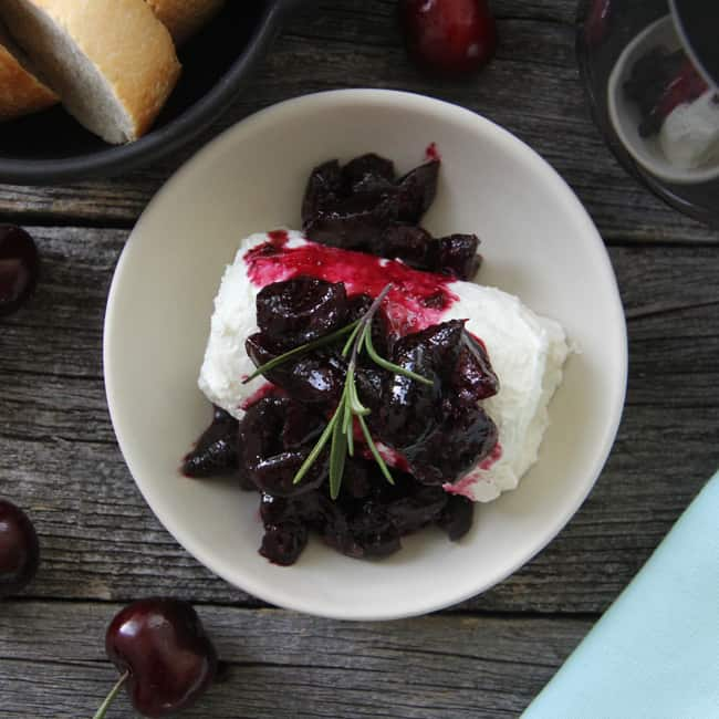 Cherry & Wine Compote with Goat Cheese Feature