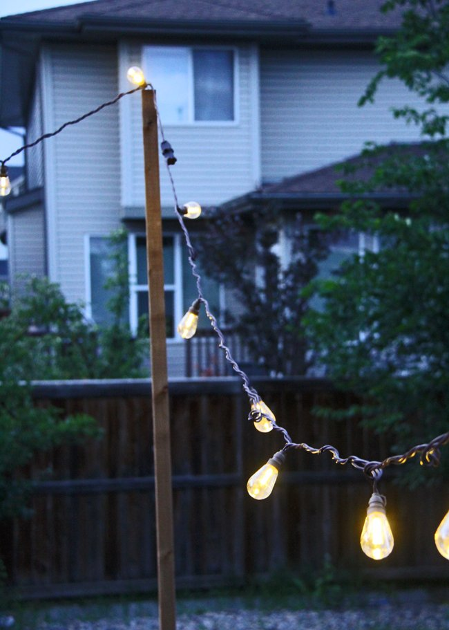 a string of lights hung from poles