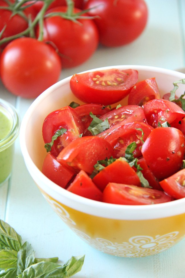 Fresh Tomato Salad with Basil Balsamic Vinaigrette {A Pretty Life}