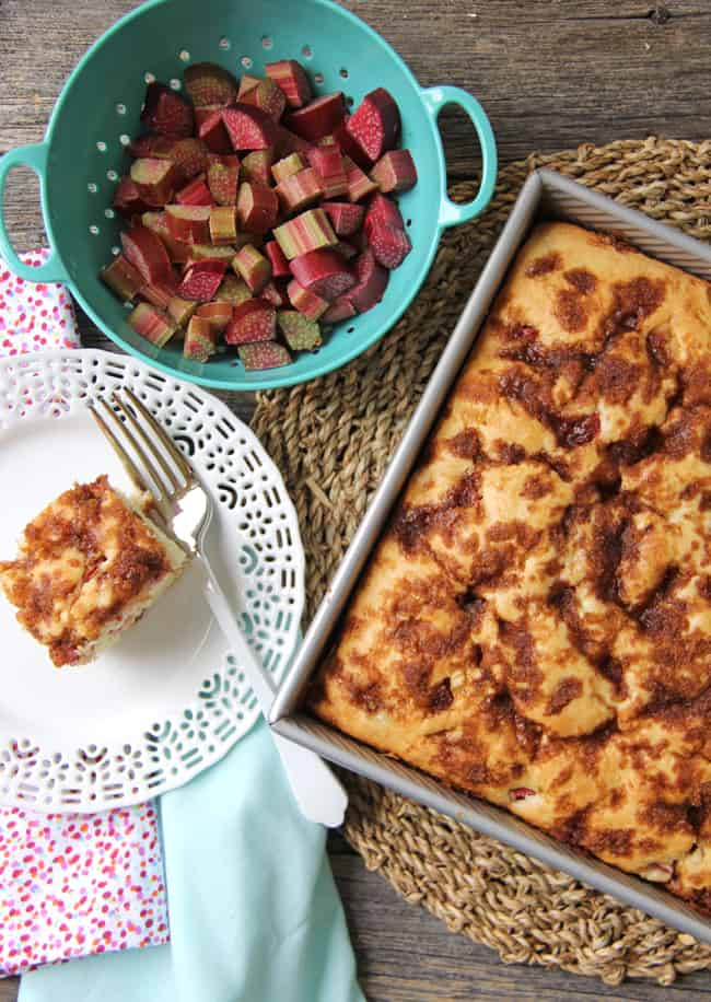 Rhubarb Buttermilk Cake {A Pretty Life}