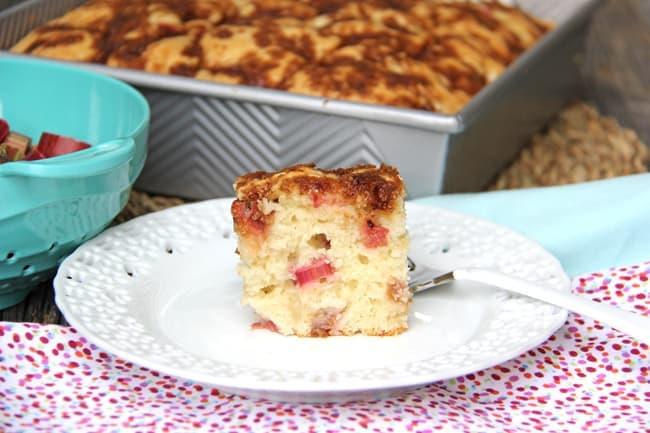 Rhubarb Buttermilk Snack Cake