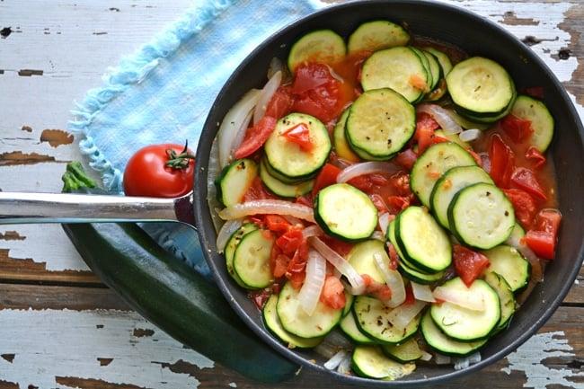 Zucchini & Tomato Skillet  {A Pretty Life}