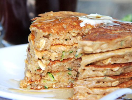 Zucchini Bread Pancakes  {A Pretty Life}FB