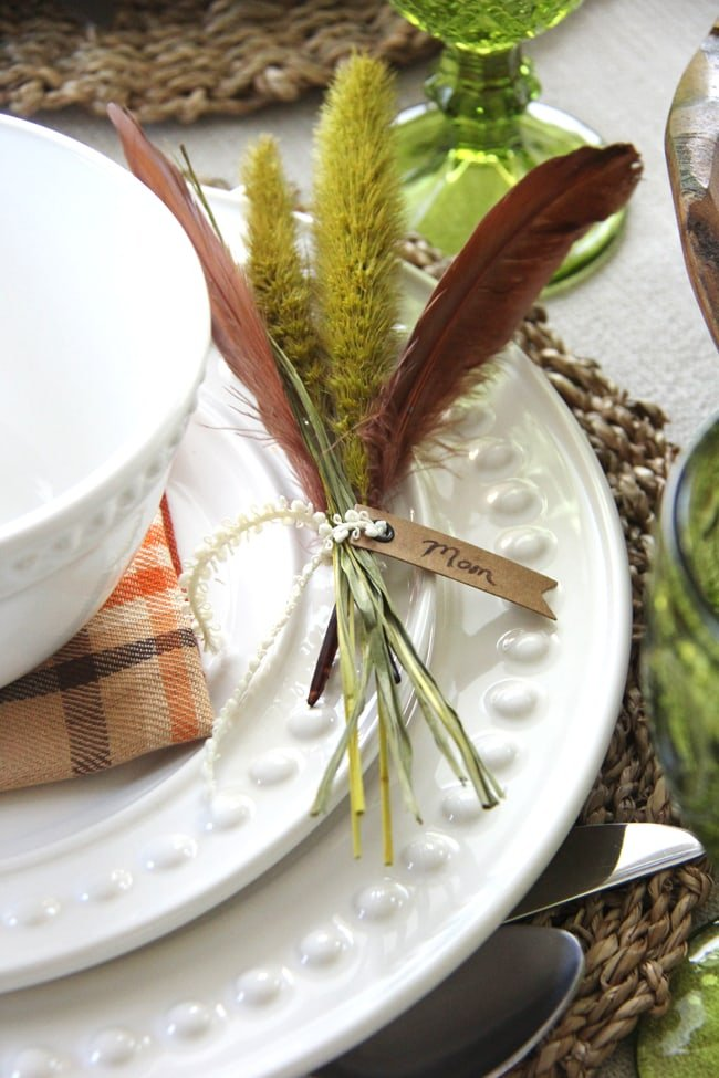 Fall Grass Place Card Holders {A Pretty Life}