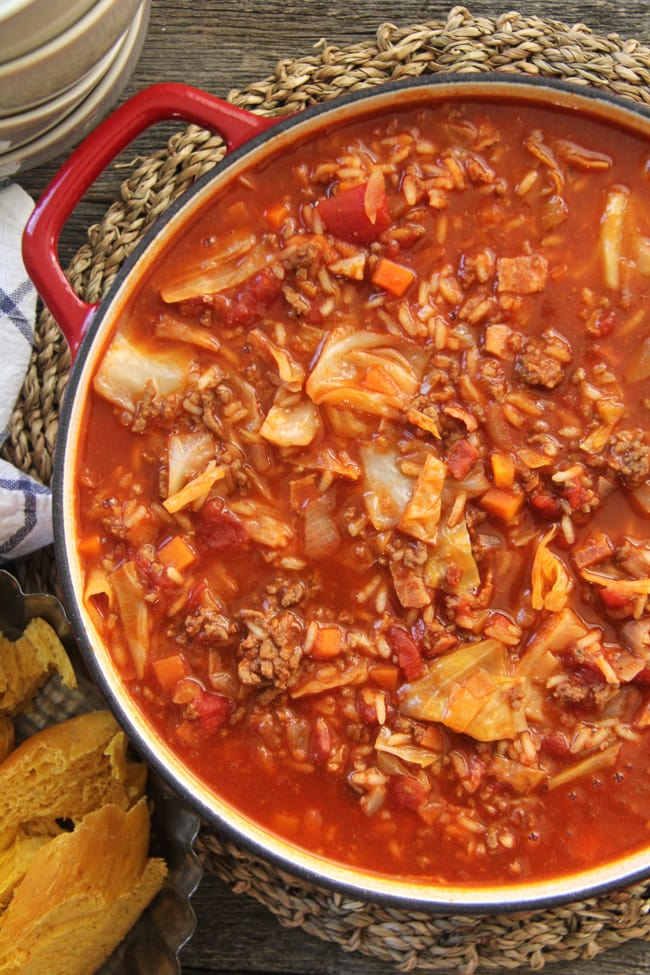 Cabbage Roll Soup {A Pretty Life}