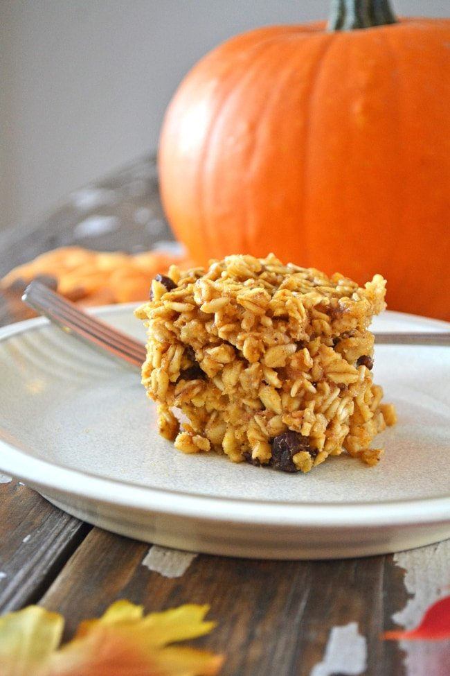 A scoop of Pumpkin Spice Baked Oatmeal on a plate