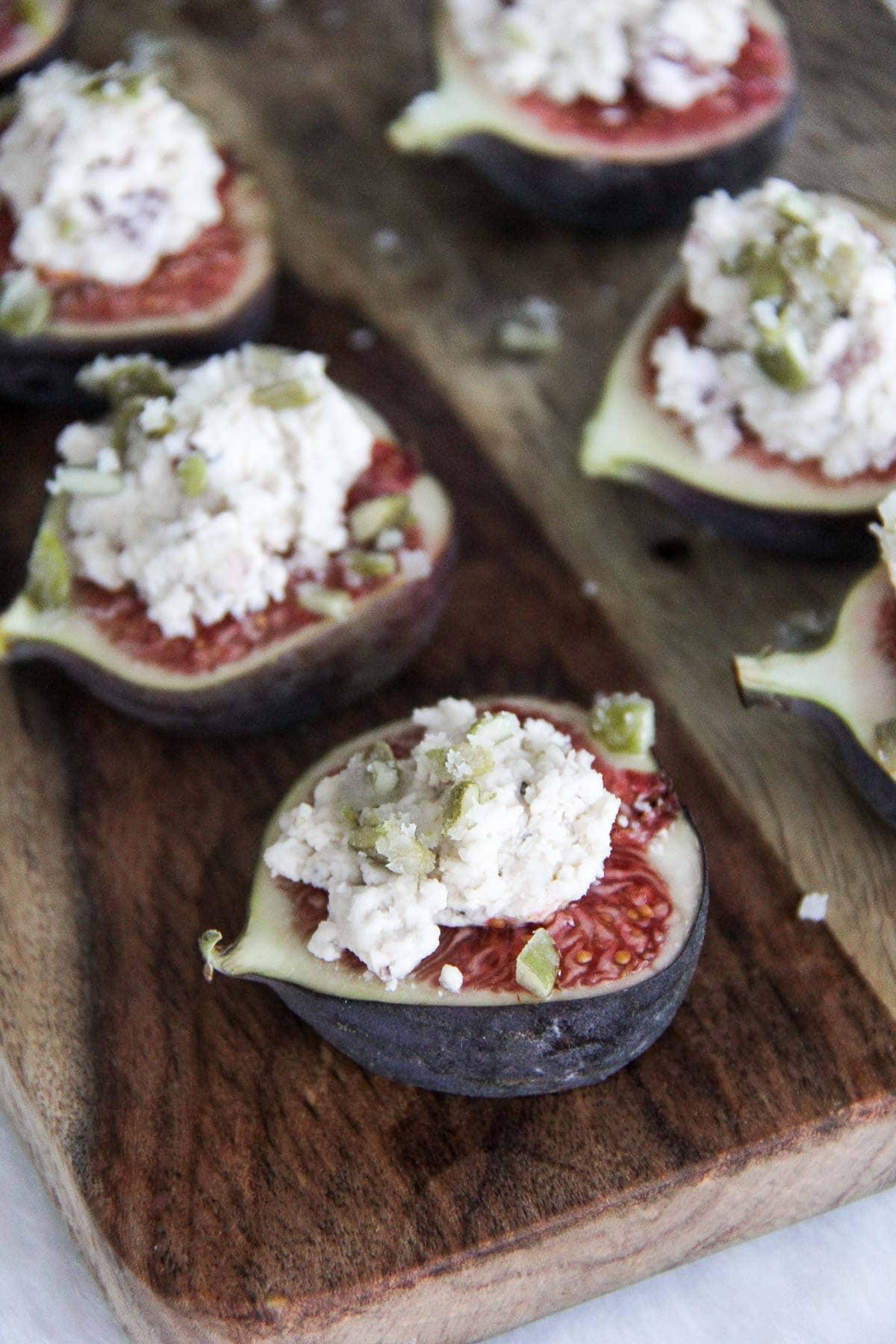 Cranberry Pepper Boursin Figs with Pepita Brittle {A Pretty Life}