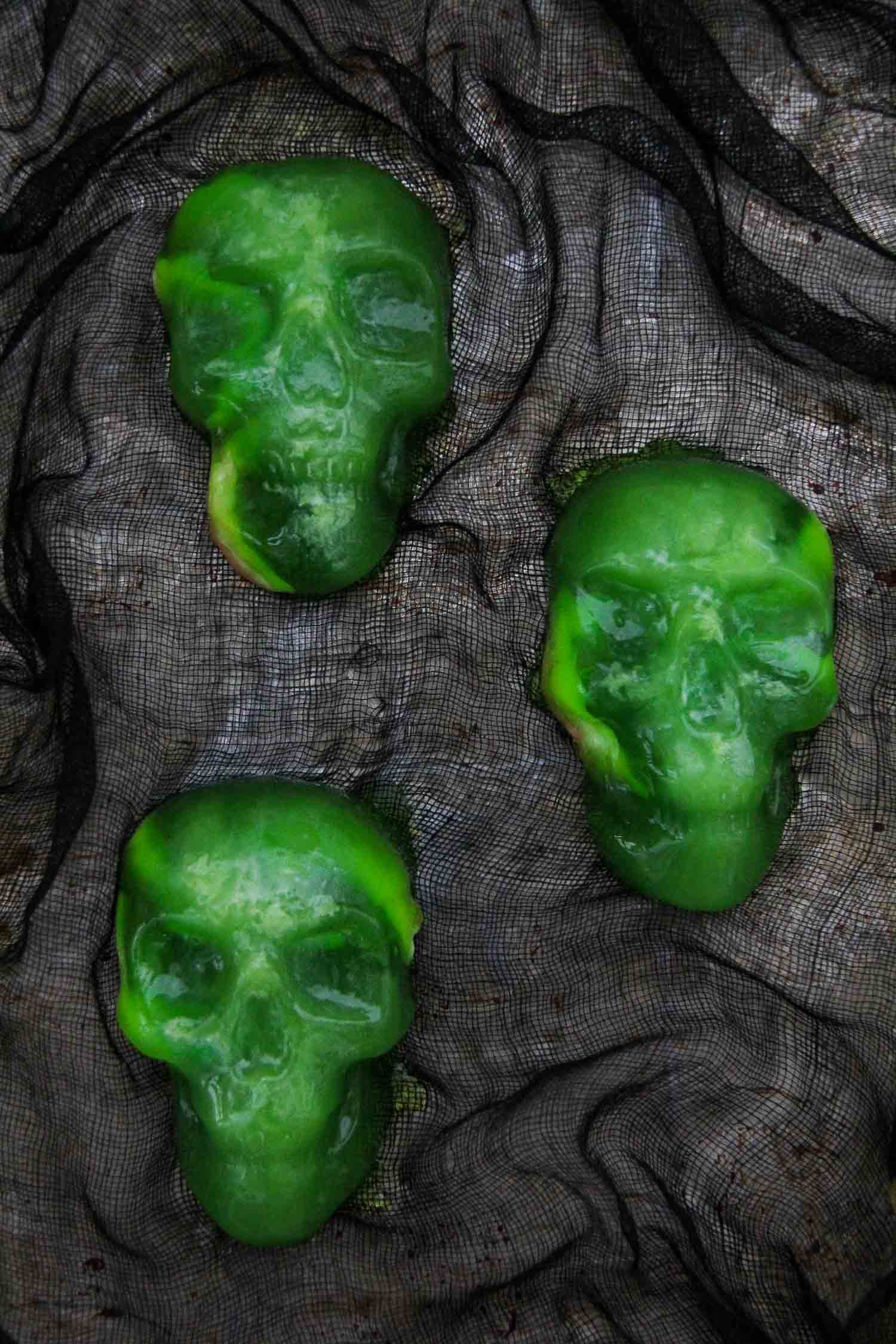 Spooky Halloween Food Ideas: Halloween Jello Skulls with Gummy Candy Worms