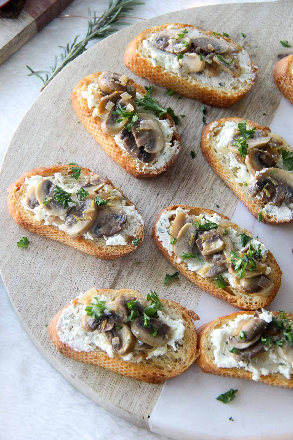 Lemony Mushroom Crostinis with Shallot & Chive Boursin