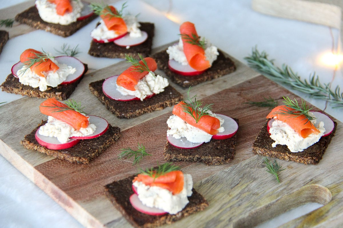 Smoked Salmon Canapes with Cracked Black Pepper Boursin {A Pretty Life}