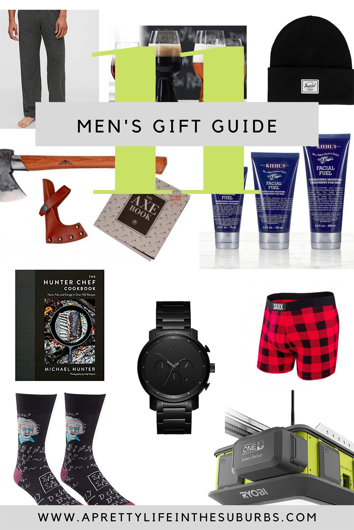 A Men's Holiday Gift Guide with images of gift ideas like pajamas, lotion, underwear, books, toques