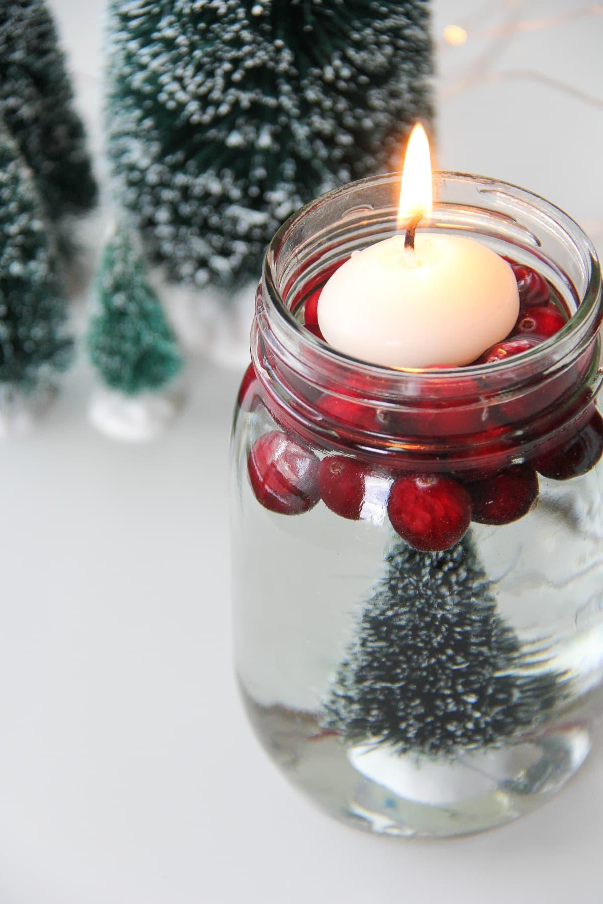 Bottle Brush Mason Jar Candles