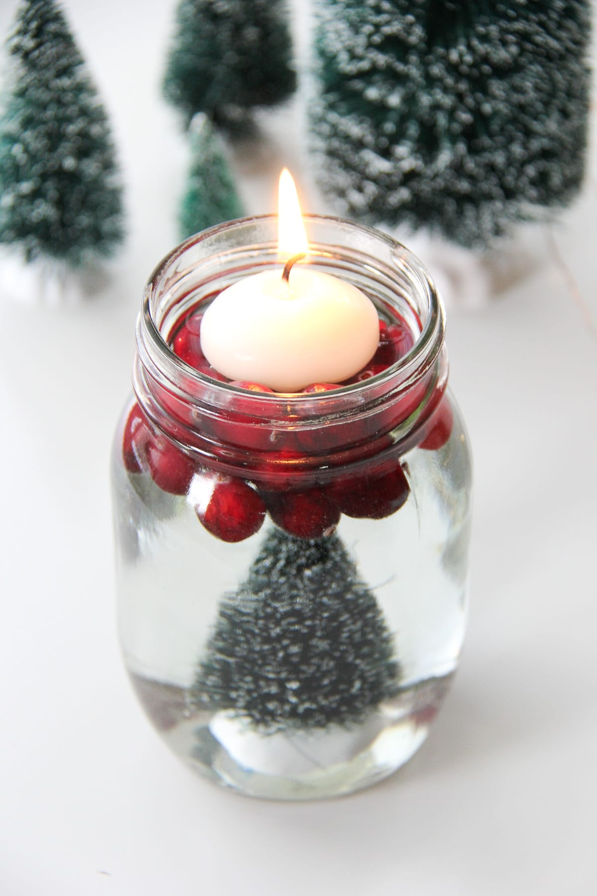 Bottle Brush Mason Jar Candles