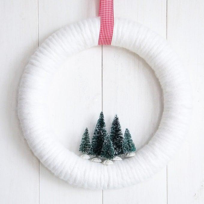 Winter Wonderland Bottle Brush Yarn Wreath