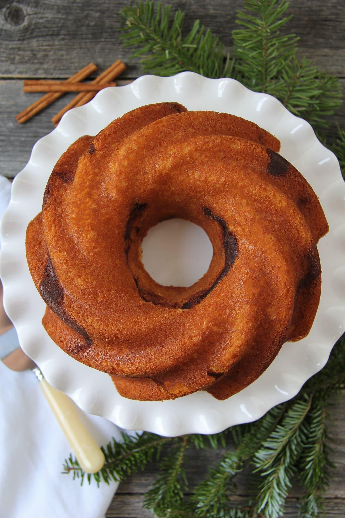 Vanilla And Chocolate Swirl Bundt Cake