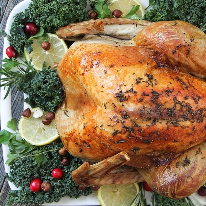 Lemon Rosemary Roasted Turkey with Savoury Hazelnut Stuffing