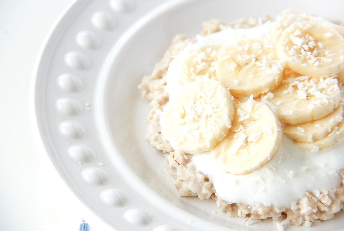 5 Minute Banana Coconut Oatmeal