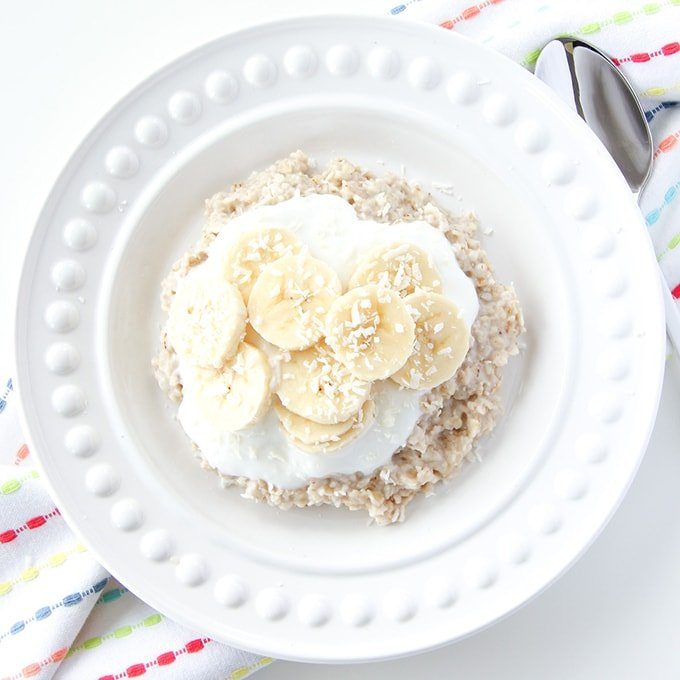 5 Minute Banana Coconut Oatmeal