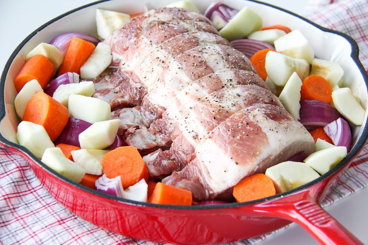 One Pot Oven Roasted Bone In Pork Rib Roast with Vegetables